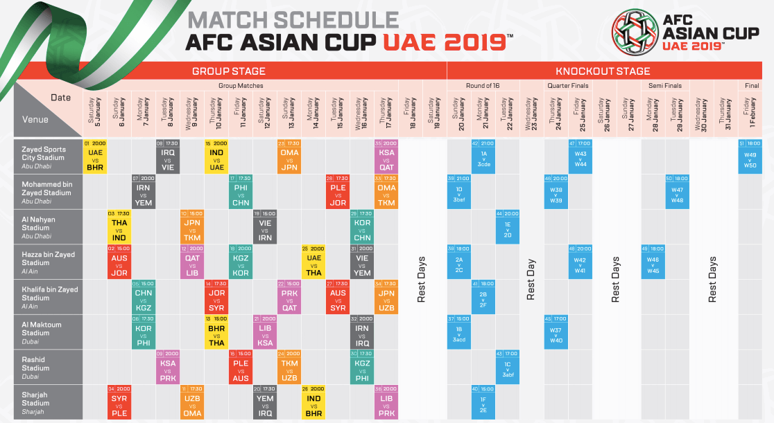 Asia cup time table and date india